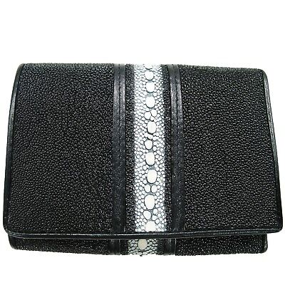 Genuine Stingray Leather Mens Trifold Wallet Black (02-448)