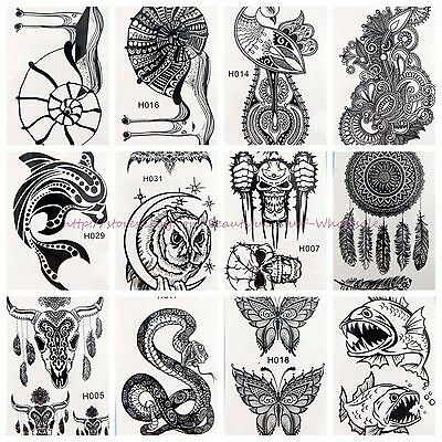 10 sheets wholesale cute black henna lace temporary tattoo wristband tattoos