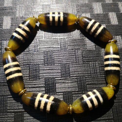 Energy Tibetan Old Agate Oily 3stripe Healer Medicine Totem dZi Bead Bracelet