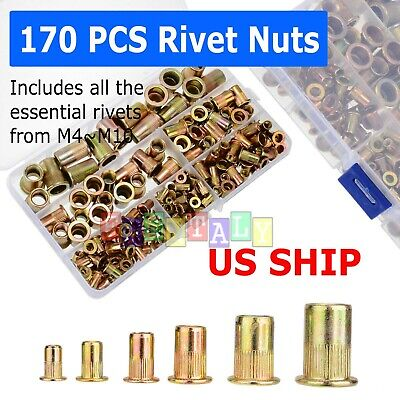 170pcs Rivet Nut Kit Zinc Steel Rivnut Insert Nutsert Open End Threaded M3-m10