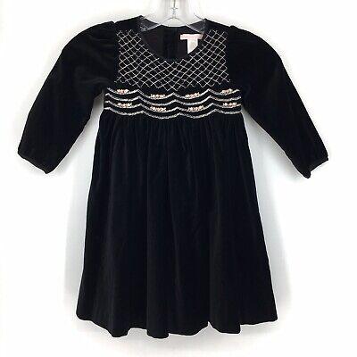 Janie and Jack 3T Velvet Black Smock Dress Toddler Girl Black Lined Embroidered