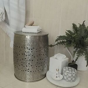 Aluminium Ornate Stool/Silver Metal Side Table/Low Drum Style Bedside Table