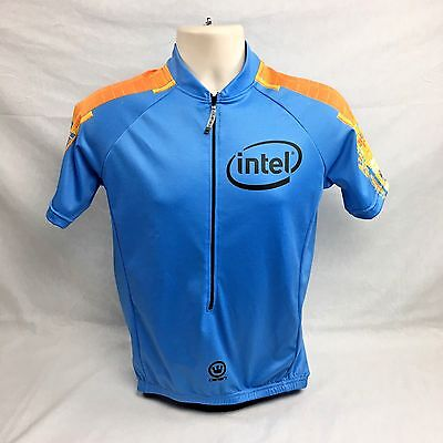 Intel Cycling Bike Jersey Canari 3 4 Zip 3 Back Pockets Light Blue New  Medium 483e2c933