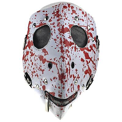 Zipper Mouth Halloween (Motorcycle Bloody Mask White & Red Blood Halloween Horror Zipper Mouth Full)