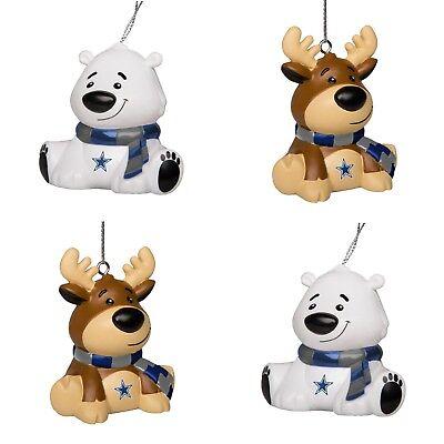 Dallas Cowboys 4 Pack Reindeer & Polar Bear Christmas Tree Holiday Ornament New (Dallas Cowboy Ornaments)