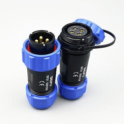 1set Sp21 Ip68 4 Pins Waterproof Circular Aviation Plug Cable Butt Connectors