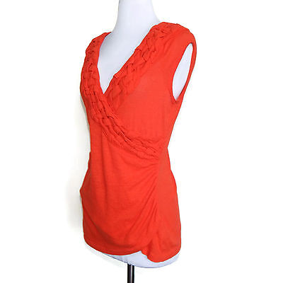 C KEER Anthropologie Vibrant Orange Braided V-Neck Faux Wrap Cap Sleeve Top sz M