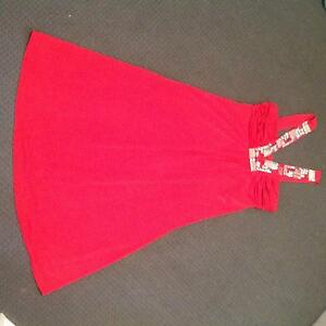 Red evening dress, mid calf, size 10. Jewel embellishment. Burleigh Waters Gold Coast South Preview