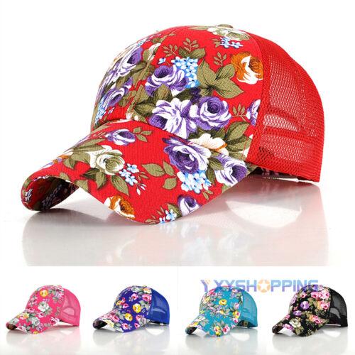 Damen Baseball Cap Basecap Vintage Blumen Mesh Schirmmütze Kappe Sport Mütze Hut