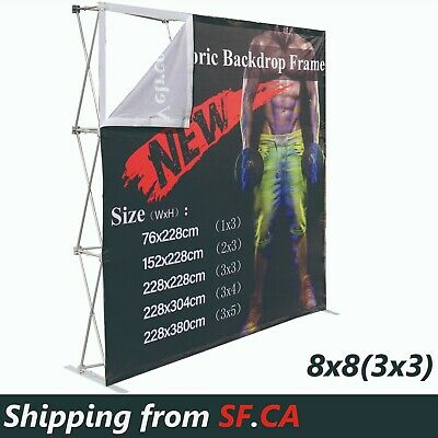 8x8ft Velrco Tension Fabric Backdrop Booth Frame Straight Pop Up Display Stand