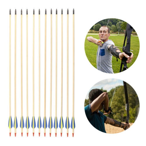 12 Wooden Archery Arrows Field Hunting & Target Broadhead Ti