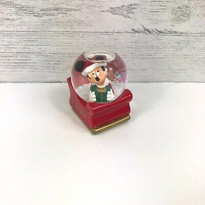 Mickey Mouse Snow Globe 2003 For JcPenney Christmas Present Santa Hat Sleigh