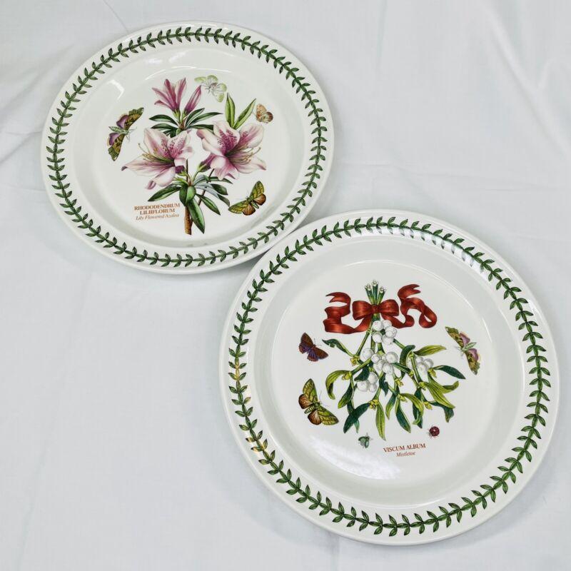 PAIR - Portmeirion BOTANIC GARDEN MISTLETOE Dinner & Lilly Azalea Plate