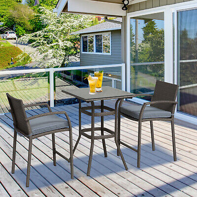 Outunny 3Pc Rattan Wicker Bistro Set Bar Table  Stool Patio Furniture