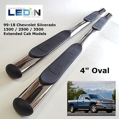 "Side Step Nerf Bar For 99-18 Silverado 1500 2500 Extended Cab Chrome 4"" Oval"