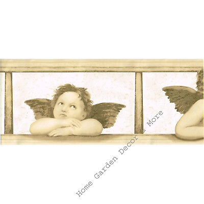 Cream Beige Architectural Renaissance Roman Angels Cherubs Wallpaper Border RARE