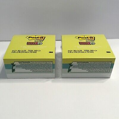Post-it Super Sticky Notes A World Of Color 3 X 3 90 Sheets Green Blue 8 Pads