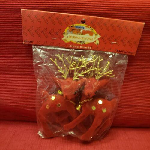 2 New Old Stock Vintage Red Flocked Faux Velvet Christmas Deer Reindeer W/Bells