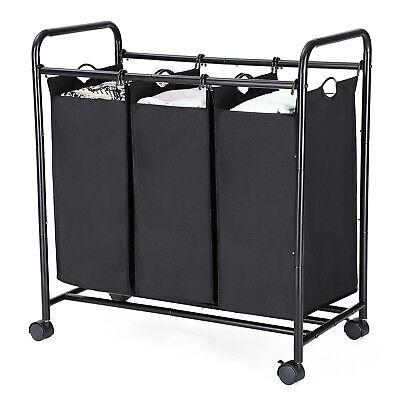 Wäschekorb mit 3Fächern Wäschesortierer Wäschewagen Wäschesammler Rollen