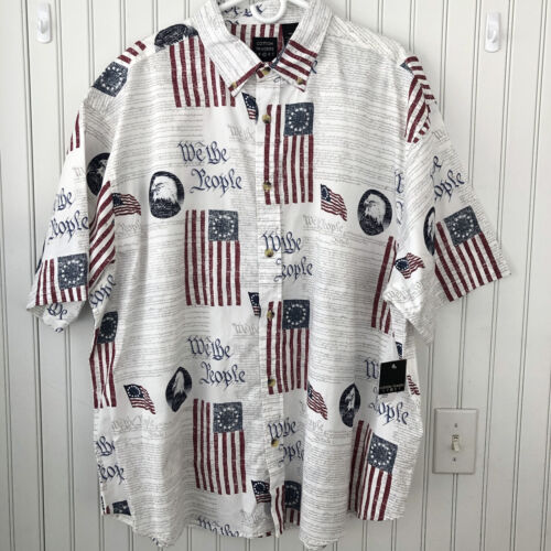 Cotton Traders Sport We The People Constitution Flag Button Down Shirt XXL Gift - $39.00