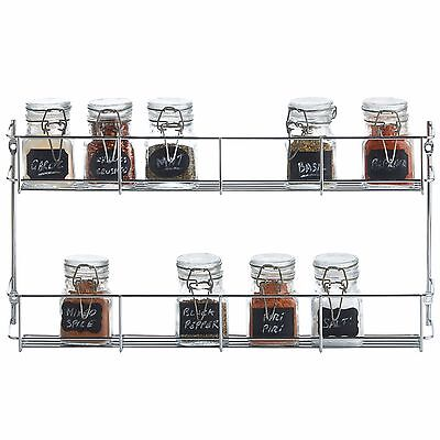 VonShef 2 Tier Wall Mounted or Cupboard Chrome Plated Sturdy Herb Spice Rack
