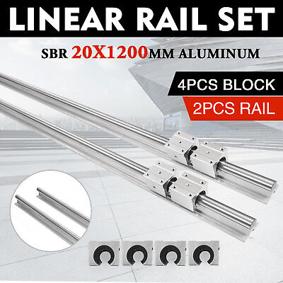 2x Sbr20-1200mm 20mm Linear Bearing Rail Slide Guide Shaft W4pcs Sbr20uu Blocks
