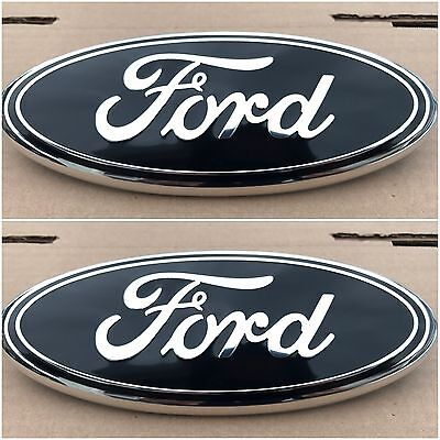 2004   2014 Ford F 150 Black Oval Front Grille   Rear Tail Gate 9 Inch Logo Set