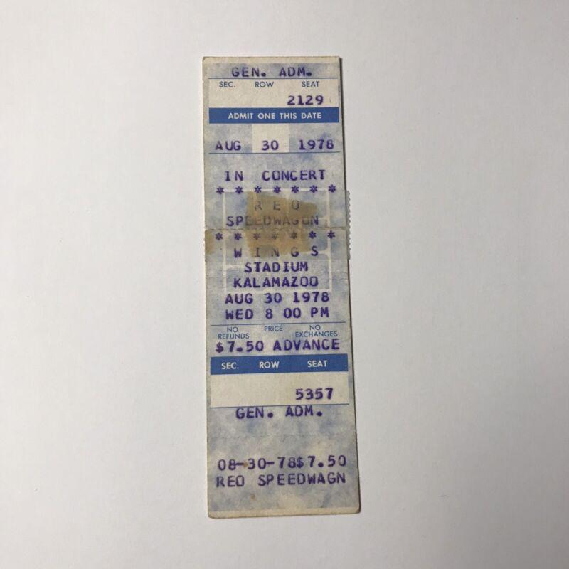 WINGS REO Speedwagon Kalamazoo Stadium Concert Ticket Stub Vintage August 1978