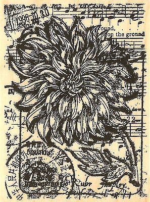 Mum Floral & Music Collage Wood Mounted Rubber Stamp Impression Obsession NEW Floral Collage Stamp