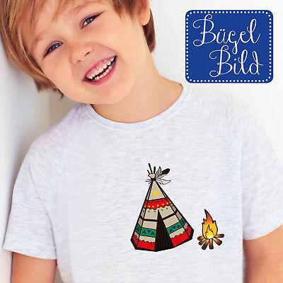 Bügelbild Indianerzelt Lagerfeuer Applikation BB10854 Indianer Tipi Kleidung
