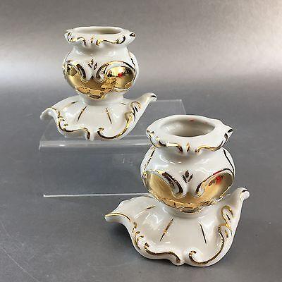Pair Of Irish Dresden Porcelain Gold White Ribbon Candle Holders Vintage