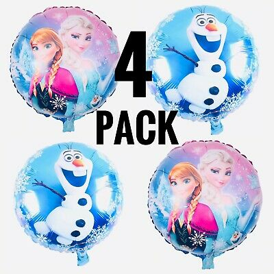 Frozen Party Balloons (4pcs Frozen 18'' Foil Birthday Party Balloons Anna, Elsa, Olaf FREE)