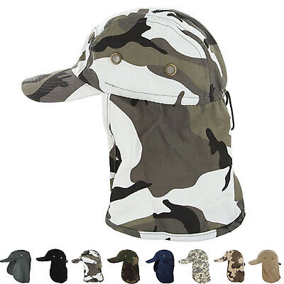 (Baseball Cap Camping Boonie Fishing Ear Flap Sun Neck Cover Visor Camo Army Hat)