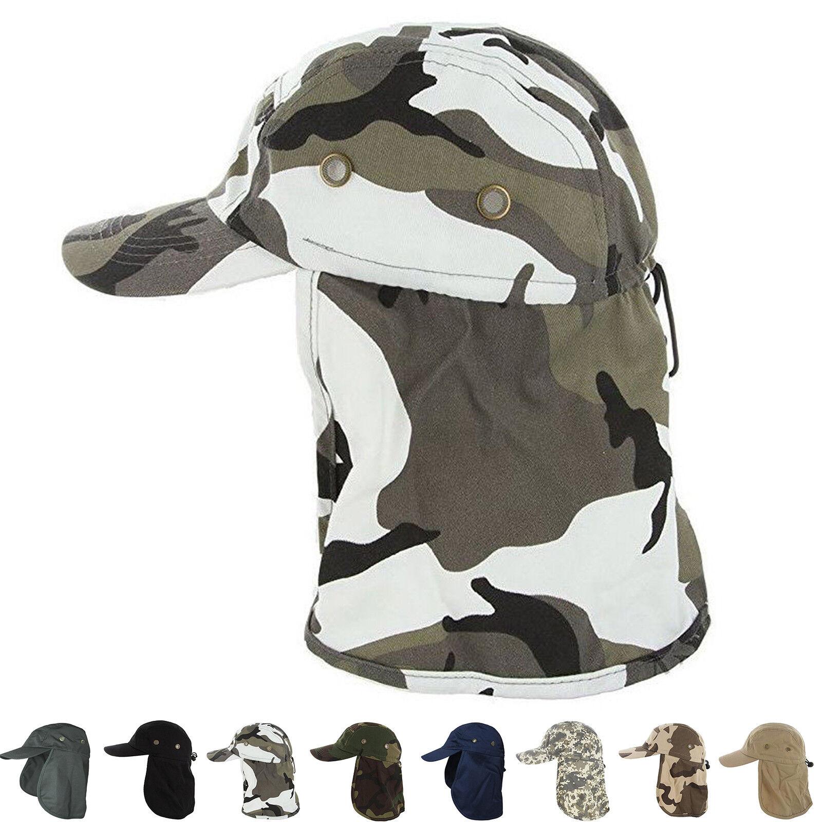 Baseball Cap Camping Boonie Fishing Ear Flap Sun Neck Cover Visor Camo Army Hat