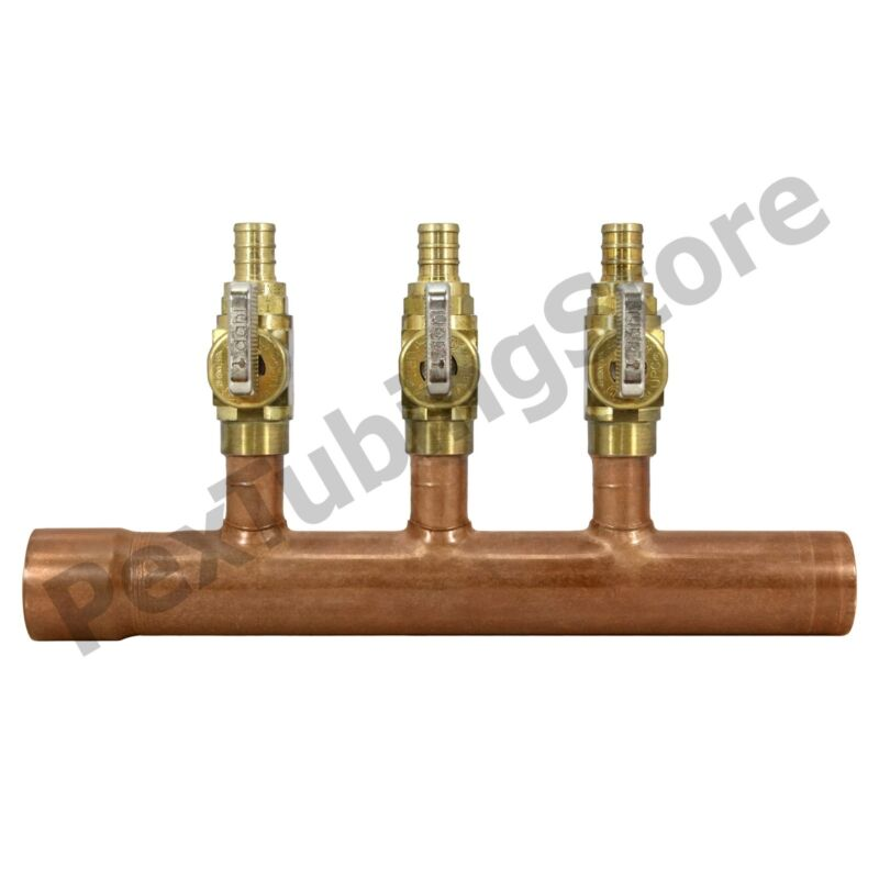 "3 Port 1/2"" PEX Manifold with Valves by Sioux Chief 672XV0342 SWEAT"