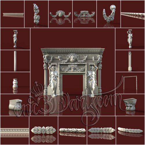 24 3D Models STL CNC Router Artcam Aspire Baroque Pattern Fireplace Cut3D Vcarve