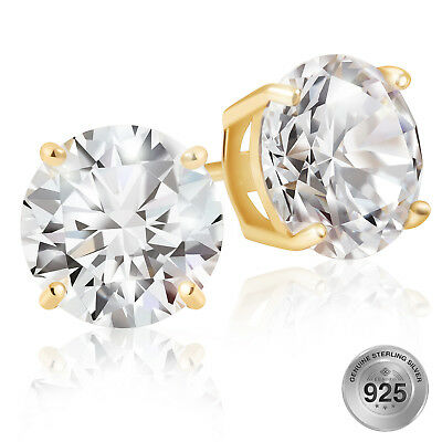 925 Sterling Silver Gold Plated Round Cut AAA Cubic Zirconia Stud Earrings Gold Plated Round Stud