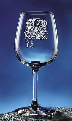 Personalized Bulldog Pet Dog Etched Wine Glass 12.75oz