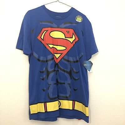 Superman T Shirt Costume (Men's Superman T-shirt with removable cape Large Cosplay halloween)