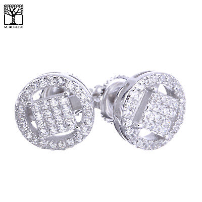 Men's Iced 3D Sterling Silver Micro Pave Round CZ Screw Back Earrings SHS 495 S