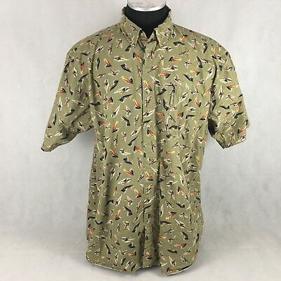 Columbia Sportswear Fishing Lure Hook Olive Green Cotton Button Front Shirt 3XB