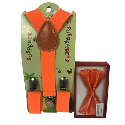 New Neon Orange Suspender + Bow Tie Combo Set Wedding Kids Boys Girls Baby](Neon Orange Suspenders)
