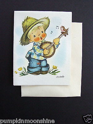 D849- Vintage Ars Sacra 1947 Eva Harta Greeting Card Boy Playing Banjo & Bird