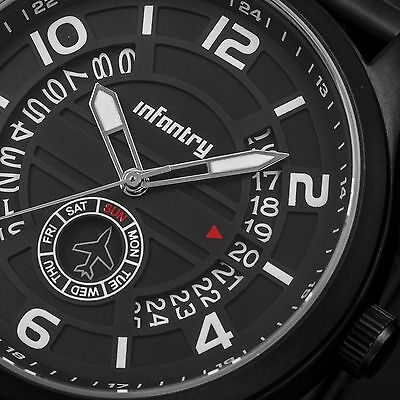 INFANTRY Mens Quartz Wrist Watch Date Day Black Stainless Steel Sport Military