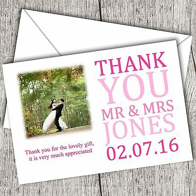 Photo WEDDING Thank You Cards • Personalised • Fast Post (Pink (Wedding Thank You Wording)