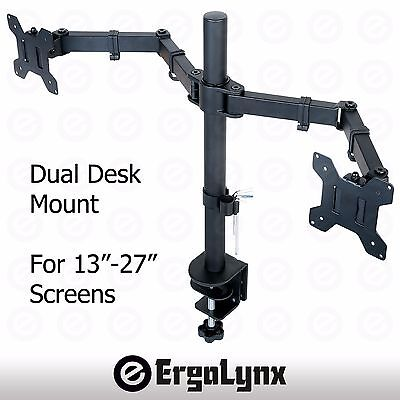 "Double Arm Desk Mount - Double LCD Monitor Twin TV Arm Desk Mount Computer Screen Bracket Dual 2 13""-27"""