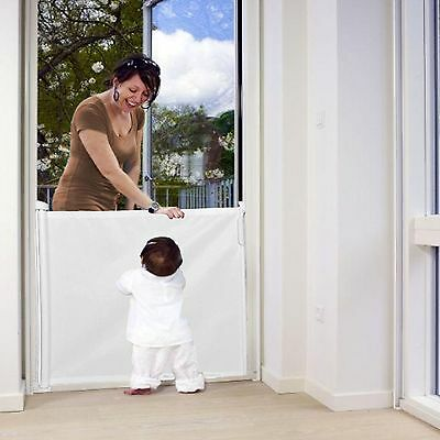 NEW WOOLIBALOO WHITE RETRACTABLE STAIR GATE / SAFETY BARRIER WITH OPENING ALERT