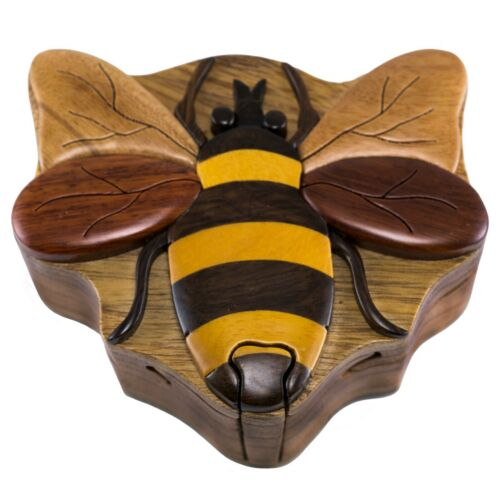 Wood Intarsia Bee Puzzle Box - Secret Trinket Box Inside! Handcrafted New