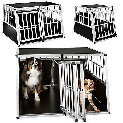 XXL doppio box cane gabbia auto trasportino animali trapezoidale alluminio