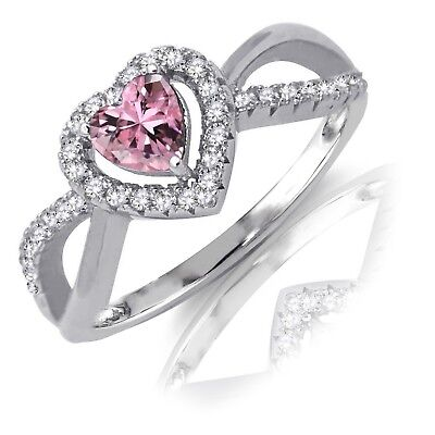 Pink Sapphire Heart Simulated Diamond Sterling Silver Infinity Ring  Simulated Sapphire Heart Ring